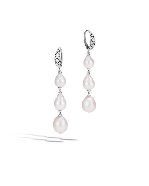 John Hardy - White Naga Drop Earring With Pearl - Lyst