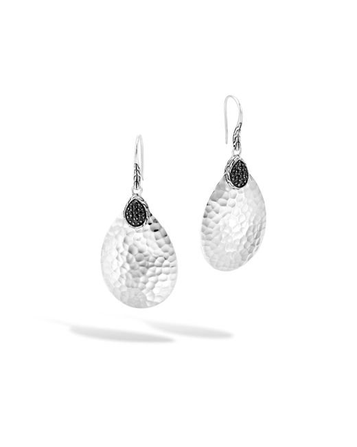 John Hardy | Classic Chain Hammered Small Drop Earring, Black Sapphire | Lyst