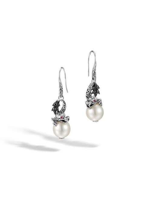 John Hardy - Red Naga Drop Earring With Pearl And Black Sapphire - Lyst