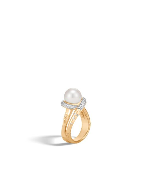 John Hardy - White Bamboo Ring With Pearl And Diamonds - Lyst