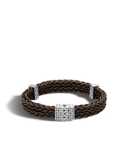 John Hardy | Brown Chain Heritage Station Bracelet In Silver And Leather | Lyst