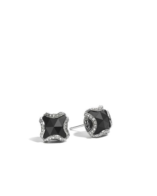 John Hardy | Classic Chain Stud Earring, Black Chalcedony And Diamonds | Lyst