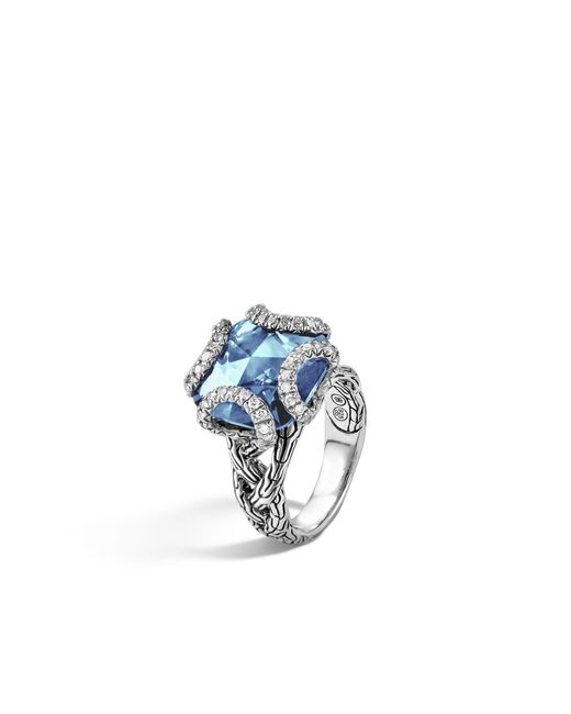 John Hardy   Classic Chain Ring With London Blue Topaz And Diamonds   Lyst