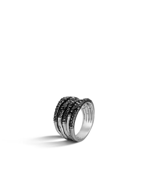 John Hardy - Metallic Bamboo Ring With Black Sapphire - Lyst
