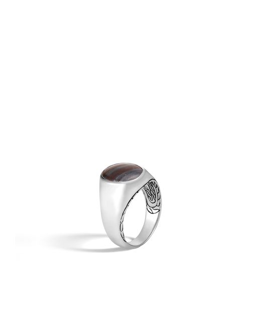 John Hardy - Multicolor Classic Chain Oval Signet Ring With Tiger Iron for Men - Lyst