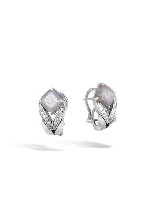 John Hardy - Metallic Magic Cut Earring With Silver Sapphire And Diamonds - Lyst