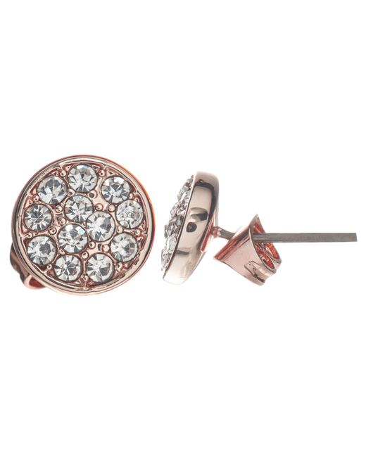 John Lewis   Blue Glass Crystal Pave Round Stud Earrings   Lyst