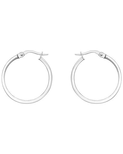 Ib&b - Metallic 18ct White Gold Rectangular Tube Creole Earrings - Lyst