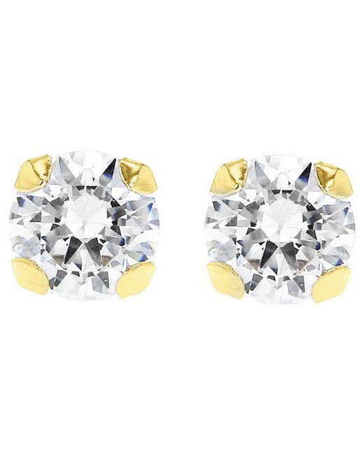 Ib&b - Metallic 9Ct Gold Round Cubic Zirconia Stud Earrings - Lyst