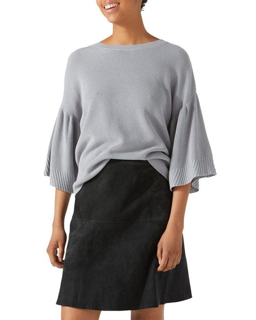 Jigsaw - Black Suede Fluted Skirt - Lyst