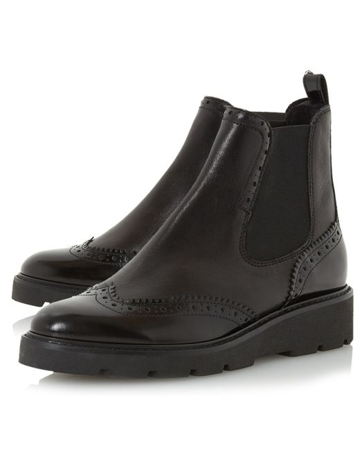 Dune Pacey Flatform Brogue Ankle Boots In Black Lyst