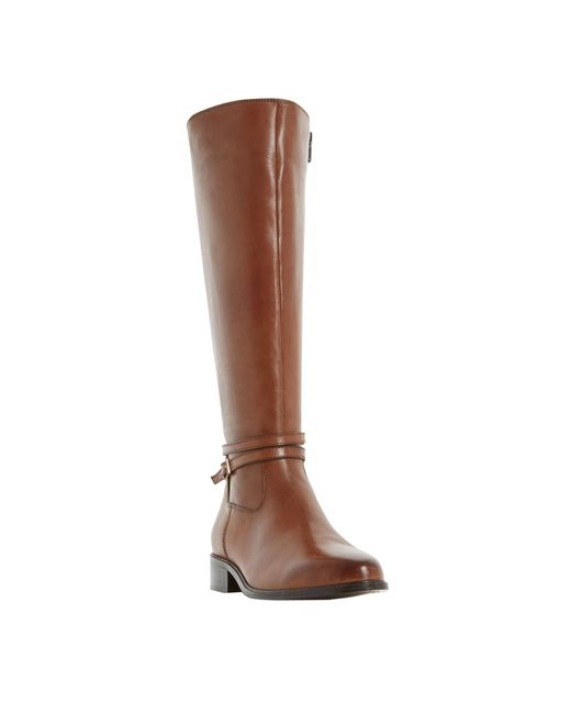 dune taro knee high boots in brown save 24 lyst