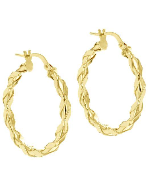 Ib&b - Metallic 9ct Gold Twist Creole Earrings - Lyst