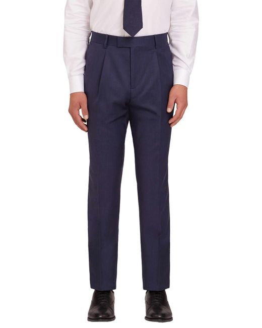 Jaeger | Blue Plain Twill Regular Fit Trousers for Men | Lyst