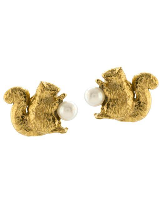 Alex Monroe | Metallic Squirrel Freshwater Pearl Stud Earrings | Lyst