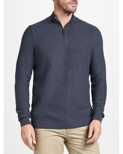 John Lewis | Blue Cotton Cashmere Textured Zip Neck Jumper for Men | Lyst