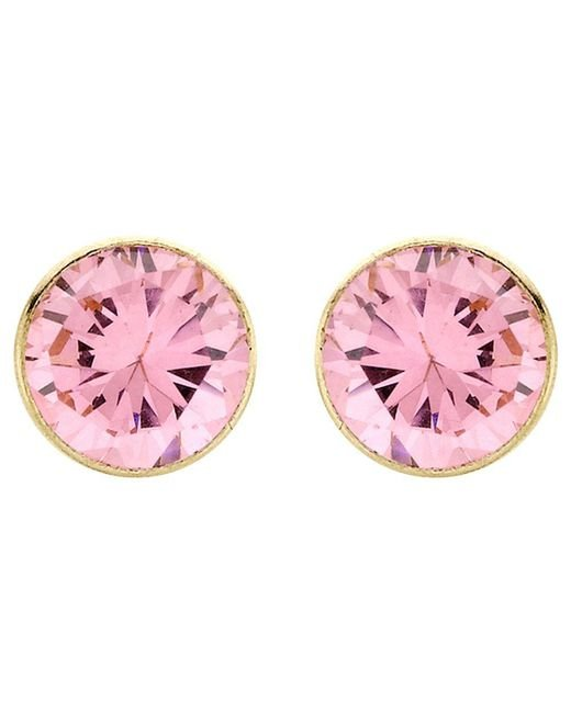 Ib&b - Pink 9ct Gold Round Cubic Zirconia Stud Earrings - Lyst
