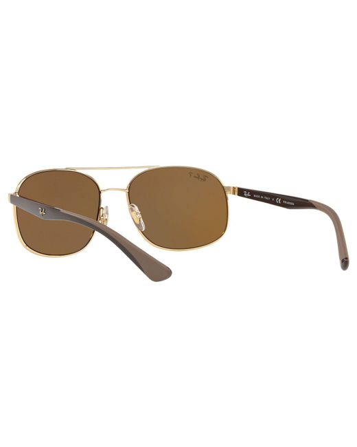 64a2db6f8e ... Ray-Ban - Brown Rb3593 Unisex Polarised Oval Sunglasses for Men - Lyst  ...