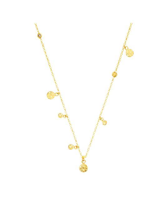 Auren - Metallic 18ct Gold Vermeil Small Hammered Discs And Diamond Drop Necklace - Lyst
