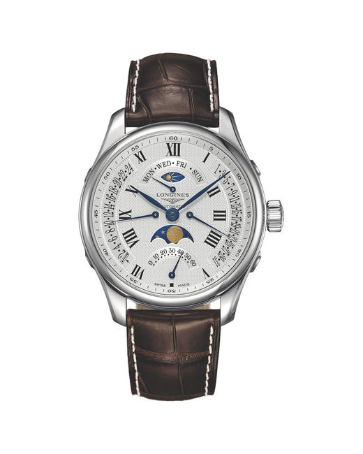 Longines - Multicolor L27394713 Men's Master Collection Automatic Chronograph Day Date Moonphase Alligator Leather Strap Watch for Men - Lyst