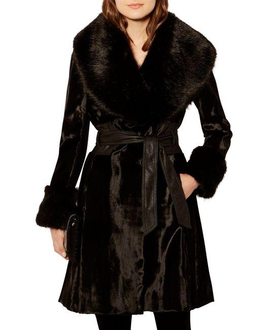 Karen Millen - Black Pony Coat - Lyst