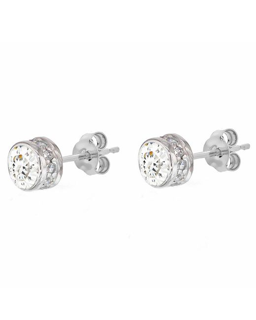 Ib&b - Metallic 9ct White Gold Medium Cubic Zirconia Stud Earrings - Lyst