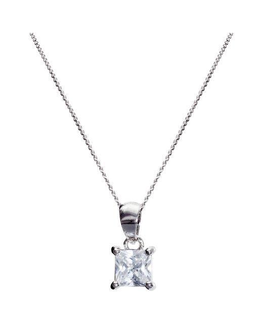 Ivory & Co. | Metallic Princess Solitaire Cubic Zirconia Pendant Necklace | Lyst