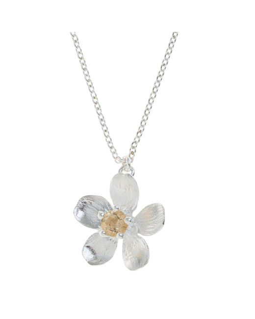 Alex Monroe | Metallic Sterling Silver Citrine Buttercup Necklace | Lyst