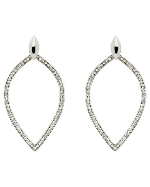 Melissa Odabash | Metallic Rhodium Plated Crystal Open Teardrop Earrings | Lyst