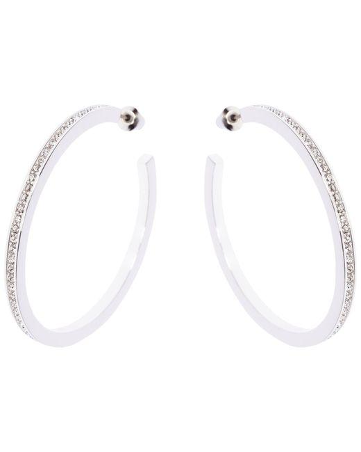 Karen Millen | Metallic Encrusted Large Hoop Earrings | Lyst