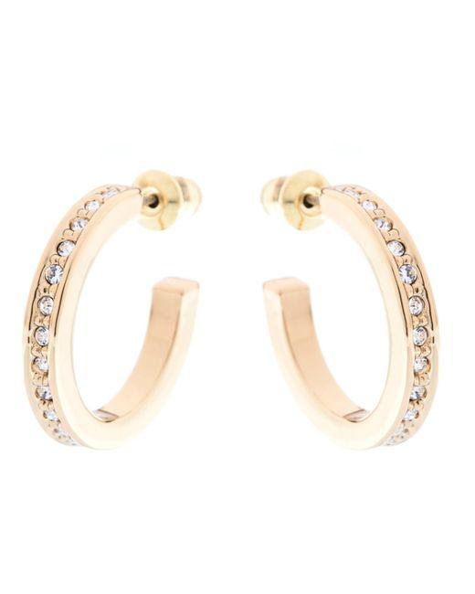 Karen Millen | Metallic Small Crystal Hoop Earrings | Lyst