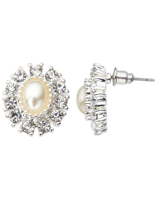 John Lewis | Metallic Faux Pearl And Cubic Zirconia Large Stud Earrings | Lyst