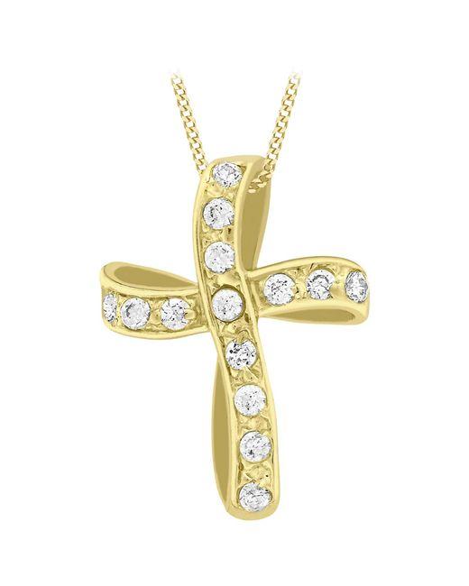 Ib&b   Metallic 9ct Yellow Gold Twisted Cubic Zirconia Cross Pendant   Lyst