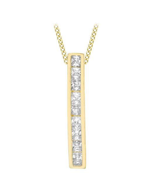 Ib&b | Metallic 9ct Gold Cubic Zirconia Bar Drop Slider Pendant | Lyst