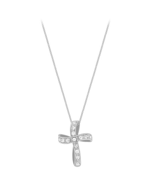 Ib&b | Metallic 9ct White Gold Twisted Cubic Zirconia Cross Pendant | Lyst