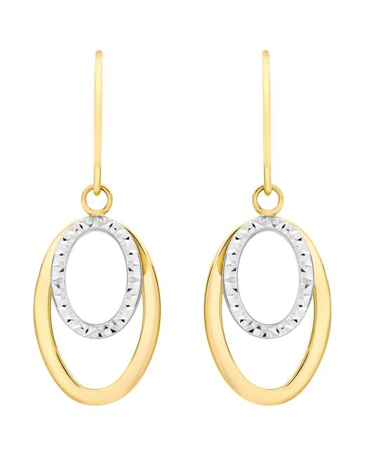 Ib&b | Metallic 9ct Gold 2 Tone Double Oval Drop Earrings | Lyst