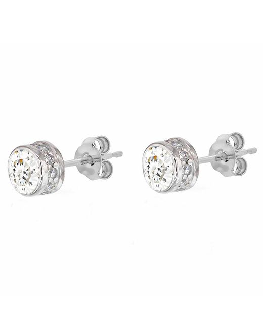 Ib&b | Metallic 9ct White Gold Medium Cubic Zirconia Stud Earrings | Lyst