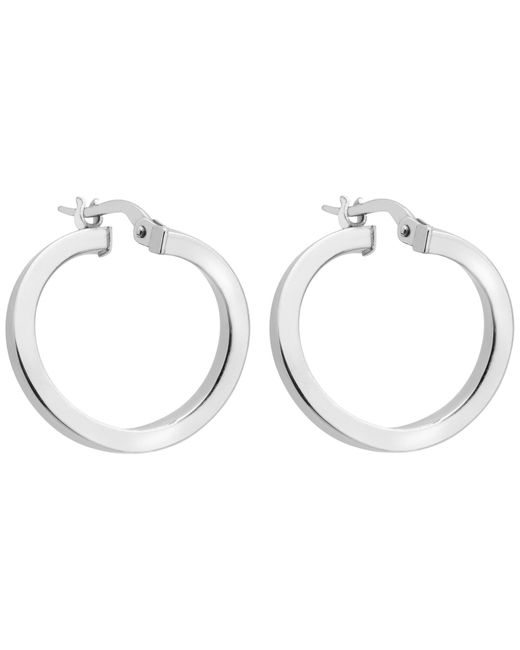 Ib&b   Metallic 9ct White Gold Creole Earrings   Lyst