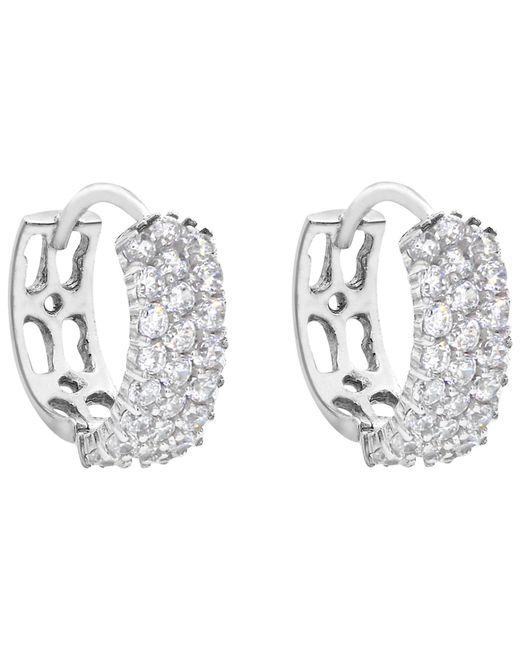 Ib&b | Metallic 9ct White Gold 3 Row Cubic Zirconia Hoop Earrings | Lyst