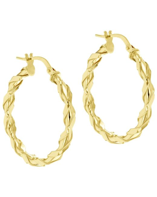 Ib&b | Metallic 9ct Gold Twist Creole Earrings | Lyst
