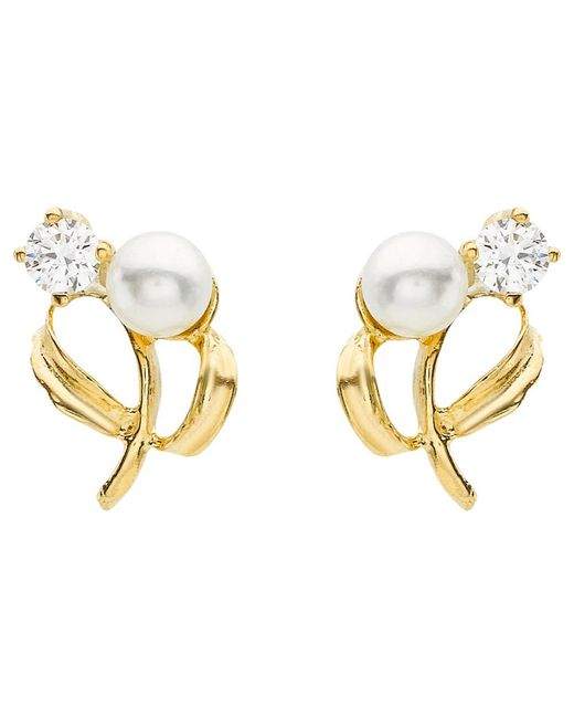 Ib&b | 9ct Yellow Gold Pearl Cubic Zirconia Stud Earrings | Lyst