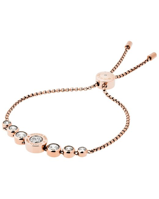 Michael Kors | Pink Logo Crystal Adjustable Bracelet | Lyst
