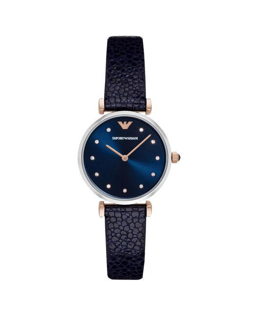Emporio armani Leather Strap Watch in Blue