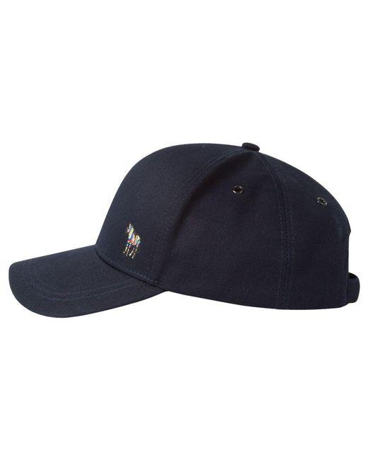 c1b74a8280f Paul Smith - Blue Navy Cotton Zebra Logo Baseball Cap for Men - Lyst ...