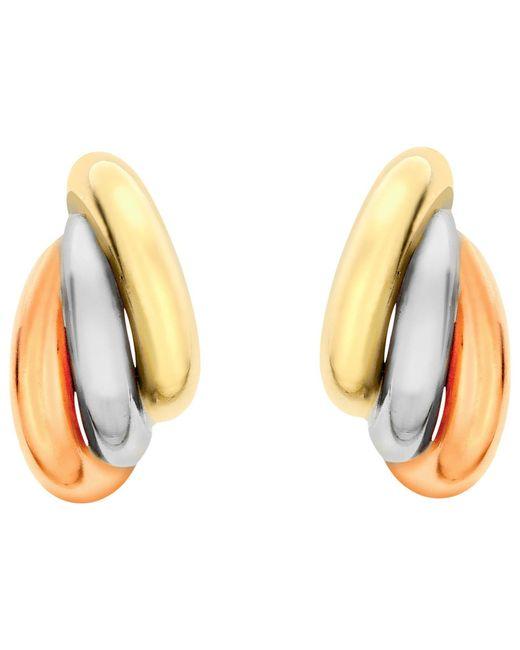 Ib&b   Metallic 9ct Gold Three Colour Russian Stud Earrings   Lyst