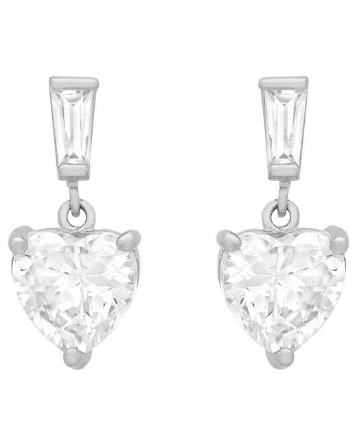 Ib&b - Metallic 9ct White Gold Cubic Zirconia Heart Drop Earrings - Lyst