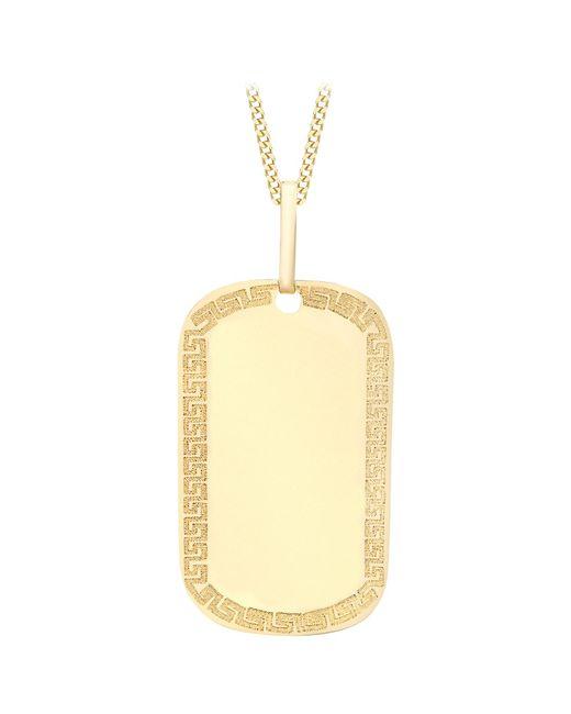 Ib&b | Metallic 9ct Yellow Gold Grecian Dog Tag Pendant | Lyst