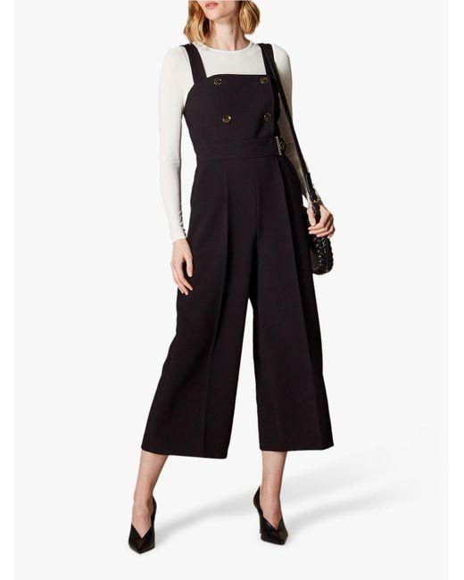 Karen Millen - Black Belted Tailored Jumpsuit - Lyst