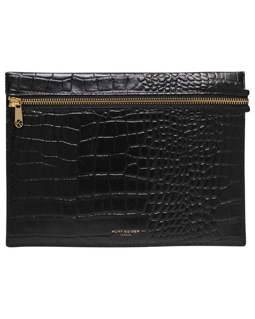Kurt Geiger | Black London Croc Leather Pouch | Lyst