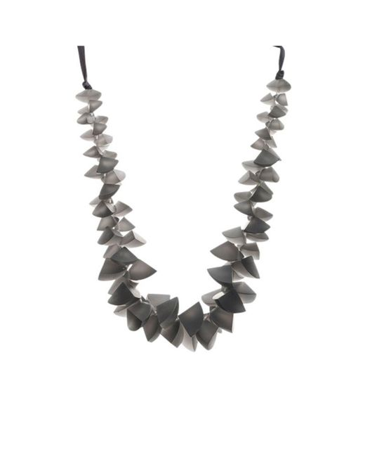 John Lewis - Gray One Button Segments Clusters Cord Necklace - Lyst